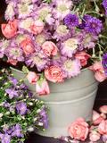 Summer Flowers in Bucket  Rosa  Scabiosa  Centaurea  Campanula
