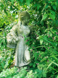 Female Statue with Basket Amongst Pelargonium (Geranium) X Monacense &quot;Muldoon&quot;