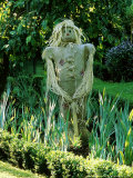 Scarecrow Made of Straw and Hessian with Stitched Mouth and Straw Hat  Beautifully Patched Outfit