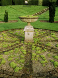 Circular Brick and Gravel Flooring and Urn/ Birdbath on Plinth Planted with Sedum (Stonecrop)