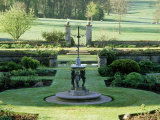 View Across Statue  Sundial and Ornate Gates of Formal Garden  Abbotswood  Gloucestershire