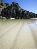 Porthcurno Beach at Low Tide  Cornwall  UK