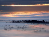Misty Morning View from Glastonbury Tor  UK