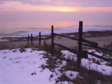 Sunrise Over a Split-Rail Fence Along Lake Michigan  Door County  USA