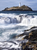 Godrevy Lighthouse in Large Waves  Conwall  UK