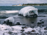 Ice Formations on Lake Superior Below Copper Harbour Lighthouse  Keweenah Peninsula  Michigan  USA