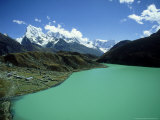 Gokyo Settlement and Lake with Cholatse and Tawoche in Background  Nepal