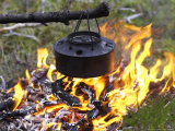 Heating Kettle Over Open Fire in Forest  Norway