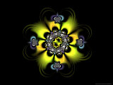Abstract Yellow Flower-Like Fractal Design on Dark Background