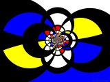 Abstract Blue  Red  Black and Yellow Fractal Design