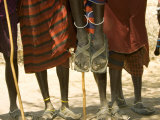 Masai Warriors from the Waist Down Showing Traditional Masai Clothing