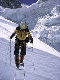 Crossing Ladders Through the Khumbu Ice Fall  Nepal