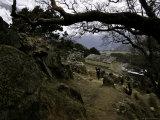 Climbers Hiking Through Small Mountain Village  Nepal