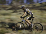Mountain Biker Against a Blurry Background  Mt Bike