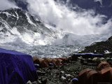 Advanced Base Camp with the North Col in the Background on the North Side of Everest