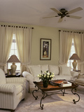 Cream Colored Living Room with Ornate Coffee Table