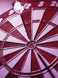 Close-up of a Dart in the Bull's-Eye of a Dartboard