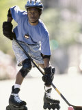 Man Playing Street Hockey