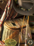 Close-up of Fishing Equipment And a Hat