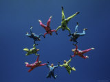 Skydivers Forming Circle