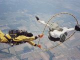 Skydivers Perfoming Stunt