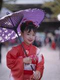 Girl Dressed in Kimono  Shichi-Go-San Festival (Festival for Three  Five  Seven Year Old Children)