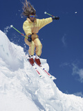 Skier in Yellow with Streaming Hair