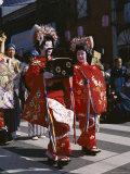 Geisha Parade  Geishas Dressed in Traditional Costume  Kimono  Kyoto  Honshu  Japan