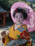 Apprentice Geisha (Maiko)  Woman Dressed in Traditional Costume  Kimono  Kyoto  Honshu  Japan