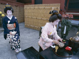 Apprentice Geisha (Maiko) Performing Tea Ceremony  Tokyo  Honshu  Japan