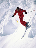 African-American Skier in Red
