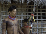 Tapirape Indian Chief and Son  Brazil