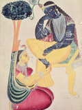 The God Krishna with His Mortal Love  Radha