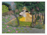 Radha and Krishna Embrace in a Grove of Flowering Trees  c1780