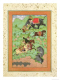 Rajput Princes Hunting Bears  Mahout and Elephant Rescue Fallen Horseman from Tiger
