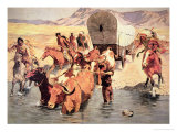 Indians Attacking a Pioneer Wagon Train