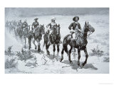 US Buffalo Soldiers Marching in the Desert  from a Drawing of 1888