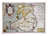 Map of Wales  Published c1630