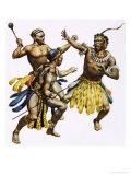Zulu Chief Shaka Being Attacked