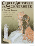 Poster Advertising Schaerbeek's Artistic Circle  Fifth Annual Exhibition  Galerie Manteau  1897