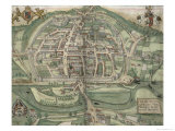 Map of Exeter  from Civitates Orbis Terrarum by Georg Braun