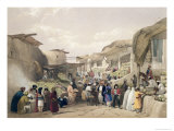 The Main Street in the Bazaar at Caubul  Fruit Season  Sketches in Afghaunistan  Engraved Haghe