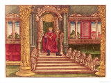 King Solomon on His Throne  1st Edition  from the Luther Bible  c1530