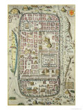 Map of Jerusalem and the Surrounding Area  from Civitates Orbis Terrarum by Georg Braun
