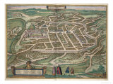 Map of Vilnius  Lithuania  from Civitates Orbis Terrarum by Georg Braun