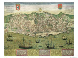 Map of Lisbon  from Civitates Orbis Terrarum by Georg Braun