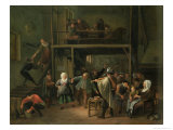The Interior of a Tavern with a Couple Dancing to the Music of a Fiddler