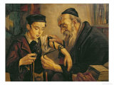 Rabbi Tying the Phylacteries to the Arm of a Boy