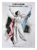 Mlle Agar Singing the Marseillaise  from the Front Cover of LEclipse  28th August  1870