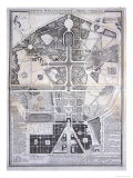 New Plan of the Town  Castle and Gardens at Versailles  c1714